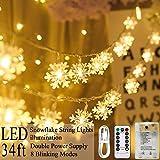 Areskey Schneeflocke Weihnachtsbeleuchtung 80 LED Schnee Lichterketten 10M Funkeln Fee Schneelichter USB Batteriebetrieben Weihnachtsdekoration Schlafzimmer Garten 8 Modi Fernbedienung Warmweiß