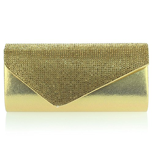 Aarz Frauen-Damen Diamante Umschlag gestaltet Abendhandtasche Hochzeit Geldbörse Party-Abschlussball-Tasche (Silber, Gold, Rot, Braun, Schwarz) Gold