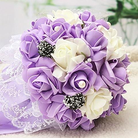 Bluelover La Main Rose Fleur Fleurs Artificielles Bridal Crystal Broche Bouquet De Mariée Perles Fleurs - Puple