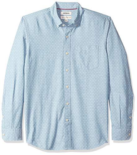 Marca Amazon - Goodthreads - Camisa de manga larga de corte estándar de cambray para hombre, diseño de lunares, Azul (Light Blue/White Dot), US S (EU S)