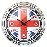 Orium 11617 Horloge Néon London Ø38, Plastique, Chromé, 37,5 x 5,9 x 37,5 cm