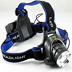 Kurtzy Headlamp Headlight Weatherproof LED Flash Light for Camping Cycling Caving Hiking Hunting With 2 4800Ah Rechargeable Battery