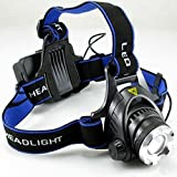 #8: High Power 3W LED Headlamp Headlight - Lightweight, Comfortable and Weatherproof Flash Light/Torch - User-Friendly - With Wall & Car Charger - 2 Rechargable Battery 4800mAh (Each) 160 Lumen - By Kurtzy