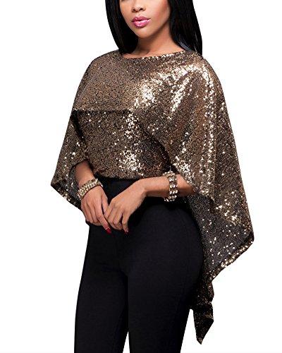 Donne Bluse e Camicie Paillettes Manica Pipistrello Maglietta Balze Maniche Camicie Top Oro