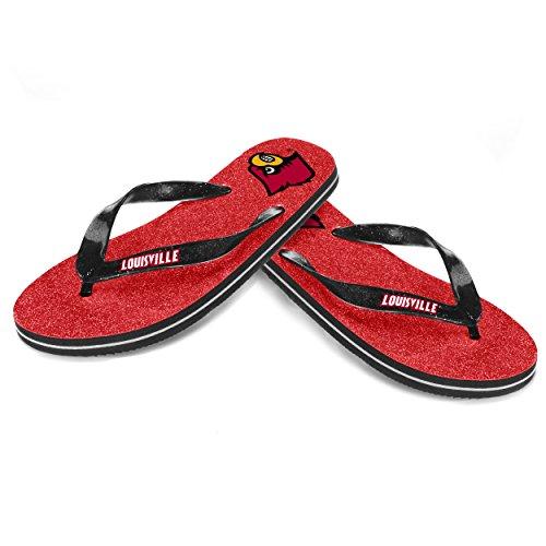 NCAA Louisville Cardinals Damen Tanga Glitzer Flip Flop, rot, klein