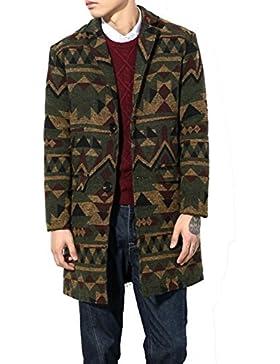 YiJee Abrigo de Invierno de Los Hombres Largo Espeso Outwear Estilo Étnico