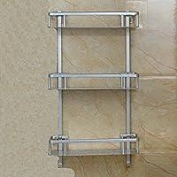 QUEEN'S Ponche gratis wc espacio en rack gradillas de aluminio baño baño baño wall rack de almacenamiento de uñas , Silver