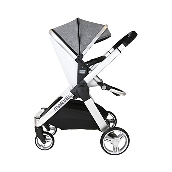 Marvel 2in1 Pram - Dove Grey (+ x2 Footmuff + x1 Car Seat Raincover) iSafe Includes Free Carseat Raincover + Carseat Footmuff + Stroller Footmuff Complete With Free Raincover For Seat Unit Complete With Free Boot Cover 9