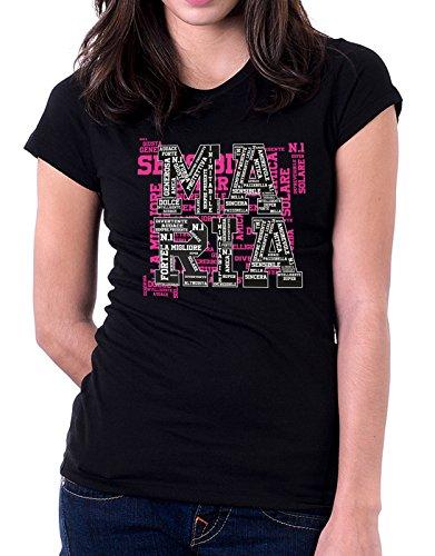 Tshirt con nome Maria e aggettivi simpatici - compleanno - idea regalo Nero
