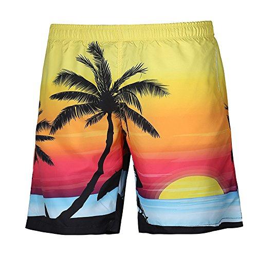 Herren Shorts, Kanpola Sommer Casual Hawaii 3D Gedruckt Strand Kurze Hosen Boxershorts Retroshorts Badehose Badeshorts Fitnesshose Sporthose Sport Yoga Unterhose (D901-Gelb, 42)