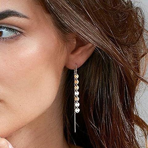 Yean Dangler Boucles d'oreilles avec améthystes avec paillettes pour les femmes et les filles (couleur or)