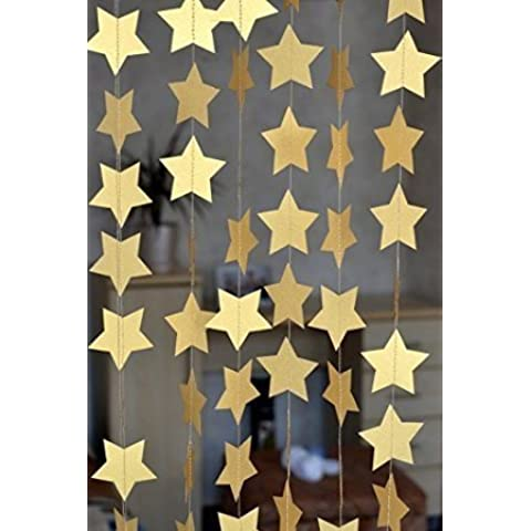 SUNBEAUTY 4 metros cadena guirnalda de estrella decoración para celebración fiesta cumpleaños