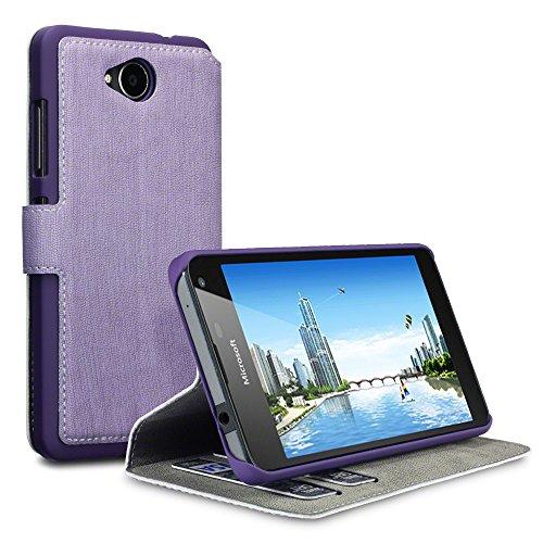 Lumia 650 Hülle, Terrapin Leder Tasche Case Hülle im Bookstyle mit Standfunktion Kartenfächer für Microsoft Lumia 650 Hülle Lila