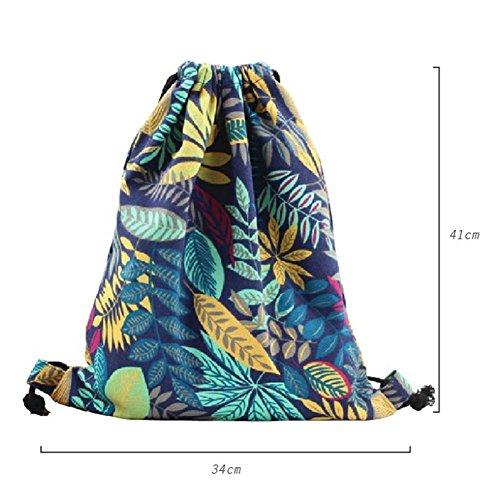 Imagen de  de cuerdas, bolasa con cordón 34 x 41cm saco gym hipster backpack pórtatil plegable para deportes al aire libre gimnasio ciclismo senderismo escuela, arce azul alternativa
