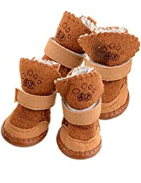 S Brown Kicode Cotton Snow Cozy Anti-Slip Lovely Warm Adjustable Shoes Boots P
