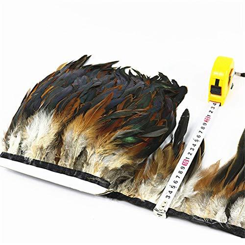 SHFives 10 Meter Qualität Hühnerhahn Schwanz Feder Borte Bänder 10-15 cm Streifen für Kleid Rock Party Kleidung Handwerk Machen, natürliche - Machen Feder Schwanz Kostüm