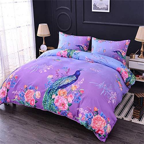 RONGXIE 3D Tiere Pfau Bettbezug Mit Kissenbezügen Blumen Bettwäsche Set Königin King Size Gesteppte Tagesdecke Bettdecken