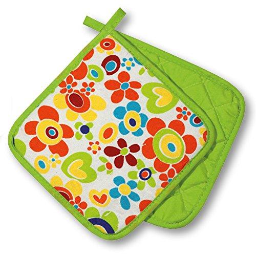"""Originelle Küchen-Serie """" FLOWER POWER """" - zur Auswahl : Topflappen oder Backhandschuhe oder Schürze , wunderschönes farbenfrohes Blumen - Motiv - hochwertig , mit Baumwolle , eine schöne kleine Geschenk - Idee - NEU aus dem KAMACA-SHOP (2 x Topflappen ( =1 Paar))"""