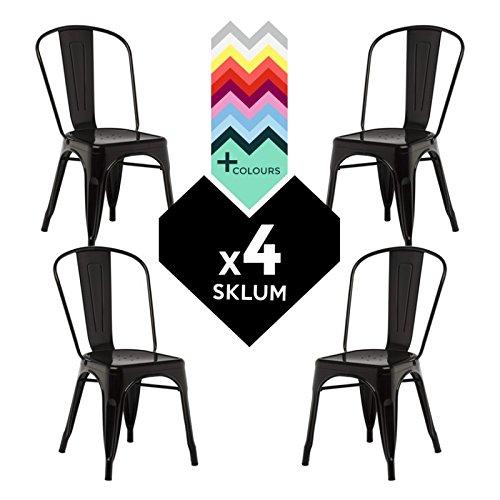 SILLA TOLIX (Pack 4) - Silla Industrial Metálica Negro - (Elige Color) SKLUM