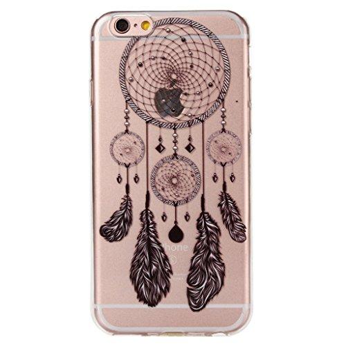 """iPhone 6 / iPhone 6S Cover , YIGA Nero Dreamcatcher Trasparente Silicone Cristallo Morbido TPU Case Custodia per Apple iPhone 6 / iPhone 6S 4.7"""""""
