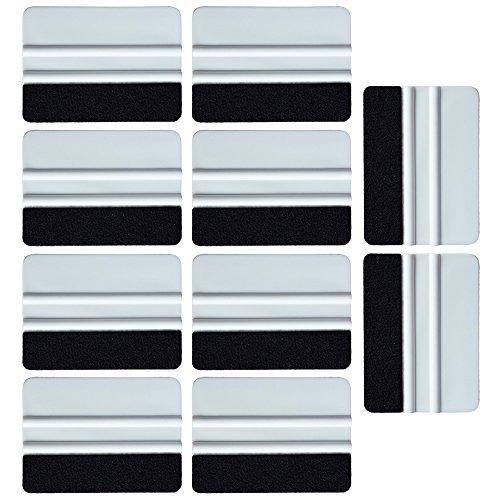 Ehdis® [10PCS] di alta qualità in feltro Bordo seccatoio 4 pollici per l'automobile del vinile della decalcomania ruspa applicatore strumento con bordo del tessuto di feltro nero - bianco PP raschietto
