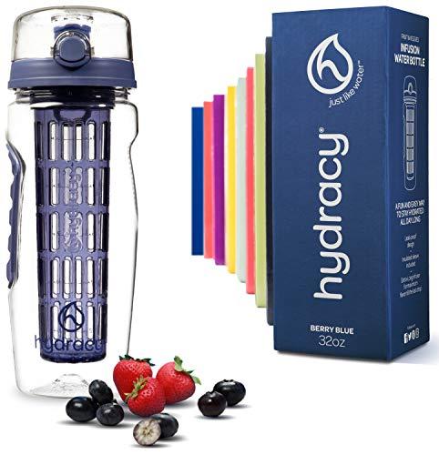 Hydracy Trinkflasche für Fruchtschorlen 1L -Sport Wasserflasche Bpa Frei mit Langem Infuser und Isolierhülle -Detox Sportflasche +27 Köstlichen Rezepten Aufgegossenes Wasser eBook Geschenk -Berry Blue