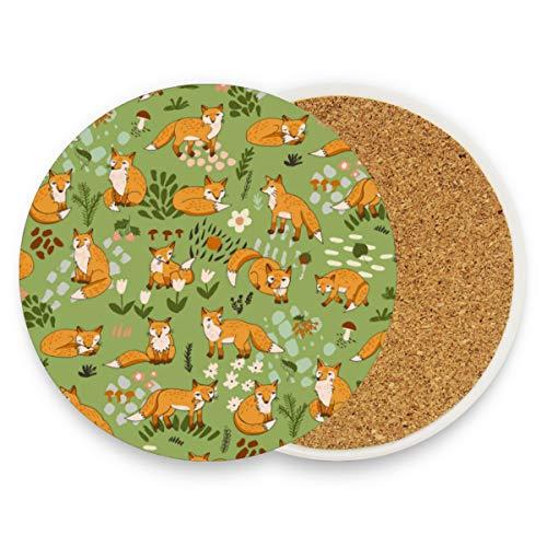 Untersetzer für Kaffeetassen, rund, saugfähig, Keramik, Grün, Orange, Fuchs-Blume, für Zuhause, Büro, Bar, Küche (Set von 1 Stück), keramik, multi, 2er-Set