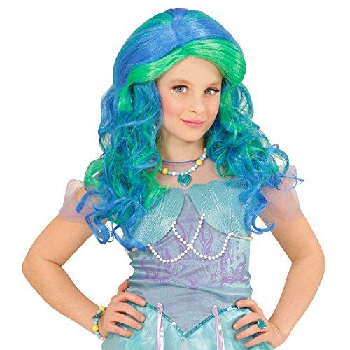 ke Fee Kinder Perücke Meerjungfrau blau-grün Mädchenperücke Nixe Cosplay Anime Langhaarperücke (Kinder Perücke Blau)