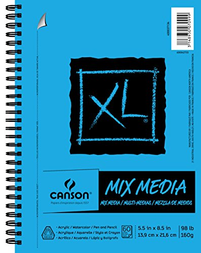 CANSON XL Mix Media Pad, 60 Sheets, 5.5 by 8.5-Inch