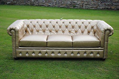 Potteries Antique Centre Marke New Gold Bycast Leder mit Chesterfield 3-Sitzer Sofa Sofa.