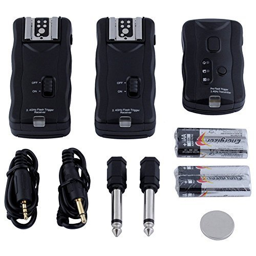 Neewer 10075893 16-Kanal Funk Blitzauslöser Set: 1 Sender + 3 Empfänger + 1 Sync-Kabel für Canon, Nikon, Pentax, Sigma, Vivitar und andere Blitzgeräte mit Universal-Blitzschuh