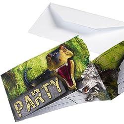 Amscan–9900360dinosaurio ataque invitaciones con sobres