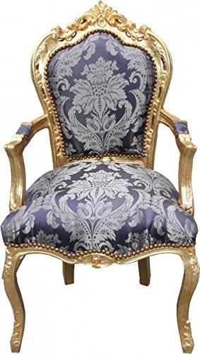 Casa Padrino Barock Esszimmer Stuhl Blau Muster/Gold mit Armlehnen - Limited Edition