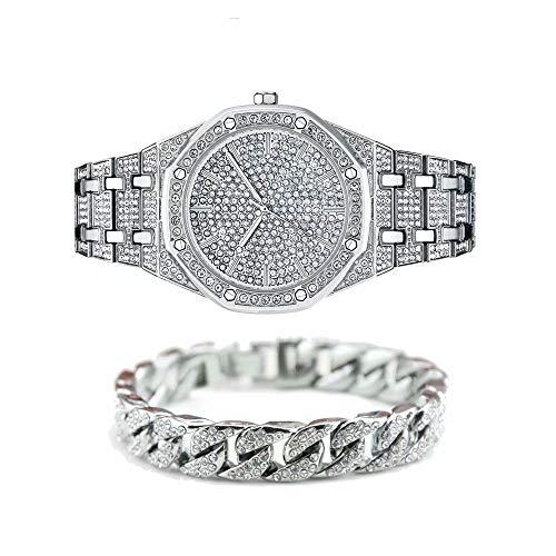 """Jacklin-F Unisex Bling-ed Out Round Herrenuhr Diamant-Uhr Hip Hop Uhr mit passenden 7.87\""""/ 20cm Iced Out Cuban Bracelet-Silber Gold erhältlich"""
