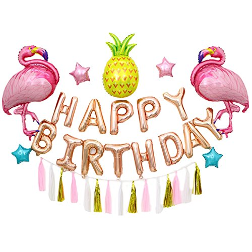 ty Dekoration, Geburtstagsfeier Deko, Flamingo Luftballon Farbiges Band, Happy Birthday Pink (Happy Birthday Band)