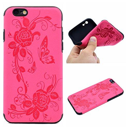 Apple iPhone 6/6S 4.7 Hülle, Voguecase Schutzhülle / Case / Cover / Hülle / TPU Gel Skin (Datura Blumen/Schwarz) + Gratis Universal Eingabestift Schmetterling liebt Blumen IV/Rosa