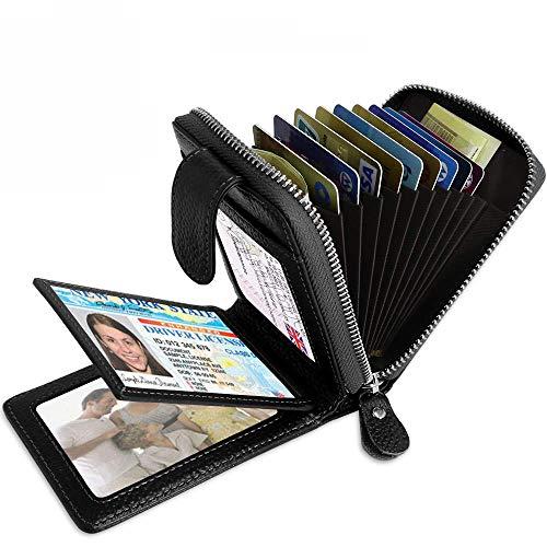 Funmo-2019 Neue Echtes Leder Kreditkartenetui   Kartenetui   Kreditkartenetui mit Geldklammer   Kreditkarten etuis   Geldbeutel mit RFID Schutz (Silver) -