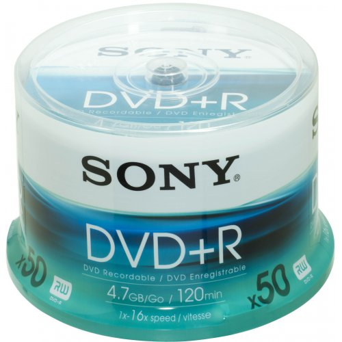 Sony - DVD+R (recordable), 16x, 50er Spindel mit 120 Minuten je DVD -