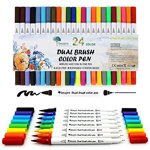 Lot de 24 feutres de coloriage pour Bullet Journal, 0,4 mm Double Pointes Feutre Fine et Pinceau Couleur à l'eau Stylos de Dessin
