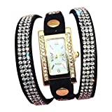 Minetom Frauen Mode Strass Armband Dekoration Quarz Analog Uhr Wrist Watch ( Schwarz )