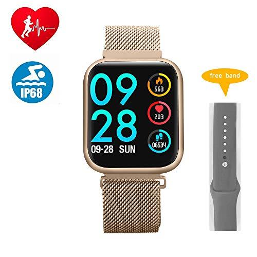 RanGuo Bluetooth Smartwatch für Herren Damen Kinder, Sports Bluetooth Intelligente Armbanduhr IP68 wasserdicht für Android und ios System, Support-Anruferinnerung und Nachrichtenerinnerung (Gold)