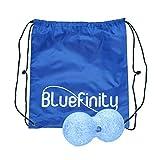 Bluefinity Massagerolle Duoball, Selbstmassagerolle 8 cm Durchmesser, für Bindegewebsmassage, Faszienrolle zur Selbstmassage, Massageball zur punktuellen Behandlung von Triggerpunkten, blau
