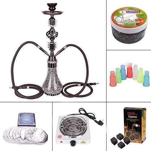 DXP Shisha 55 cm 2 Manguera Hookah Cachimba Narguile agua tubo vidrio fumar con 2x100gr. piedras,carbón,papel de estaño,boquillas