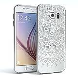 EAZY CASE GmbH Hülle für Samsung Galaxy S6 Schutzhülle Silikon Mandala Design, Slimcover Henna, Handyhülle, TPU Hülle/Soft Case, Silikonhülle, Backcover, indische Sonne, transparent, Weiß