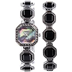 TIME100 Women's Fashion Retro Style Sqaure Dial Black Ladies Diamond Bracelet Watches #W50134L.02A