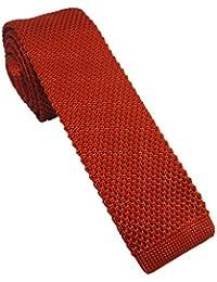 Burnt Orange Silk Knitted Skinny Tie