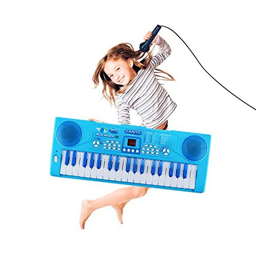 M SANMERSEN Kids Piano, Sanmersen 37 Key Multi-function Electronic Keyboard Piano Play Piano Organ with Microphone Educational Toy for Toddlers Kids Children(Blue)