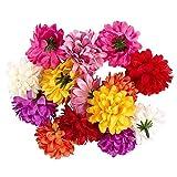 Ideen mit Herz Deko-Blüten, Kunstblumen, Blüten-Köpfe, Verschiedene Sorten, ca. Ø 4-5 cm (Dahlie - bunt - 14 Stück)