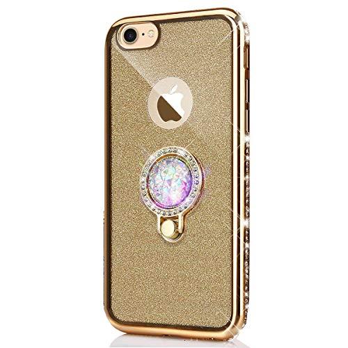 kompatibel mit iPhone 5S Hülle,iPhone SE Hülle,[Ring Ständer] Glitzer Diamant TPU Silikon Hülle Kristall Strass Bumper Silikon Handytasche Handyhülle Schutzhülle für iPhone SE/5/5S,Gold (Iphone 5s Case Gold Diamant)