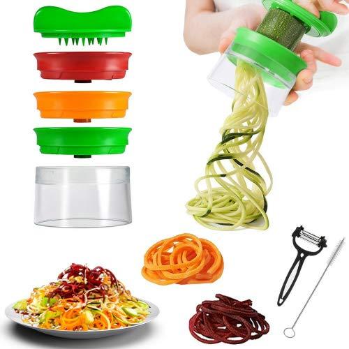 Telgoner spiralizzatore tagliaverdure a 3 lame con spazzola per la pulizia e pelapatate, crea spirali, spaghetti e noodle di verdure fatti a mano, per carote, cetrioli, patate, zucca, zucchini
